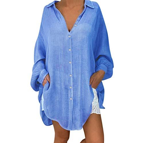 Yvelands Damen T-Shirt Casual Revers Neck T-Shirt Damen Kurzarm Schnalle Bluse Tops(Blau,XXXXXL) Cashmere Coat Petite