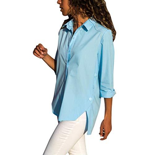 TianWlio Langarmshirt Damen Frauen Solide Button Down Langarm Bluse Grundlegende T-Shirts Tops Damen Langarmshirt Longsleeve