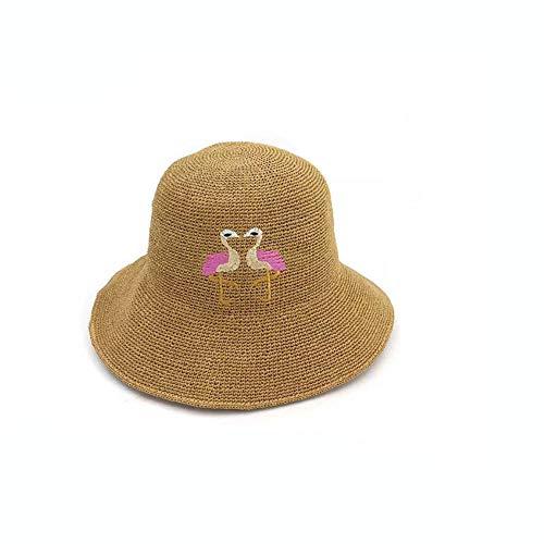 shixiaodan Faltbarer Sonnenhut SommerhutFrauen, die gesponnenen aushöhlen Eimer-Hut im Freienstickerei-Strand-Kleid-Visier falte