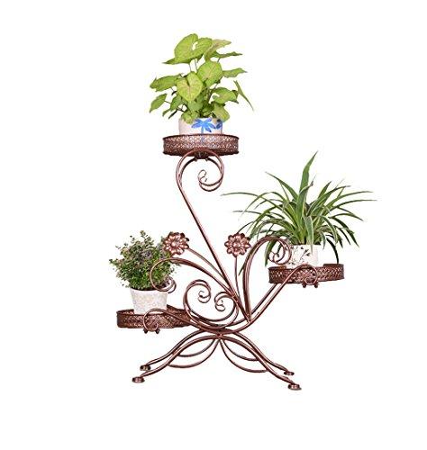 Porte-grille à fleurs en acier inoxydable à l'intérieur et à l'extérieur (Brown, Black, White) ( Couleur : Marron )