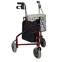 Invacare Delta Three Wheeled Rollator Burgundy
