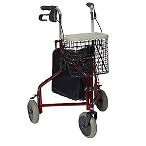Invacare Delta Three Wheeled Rollator Burgundy