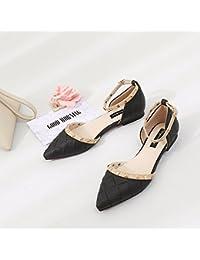 Xue Qiqi luz de la Sra. Hollow Zapatos Planos con una Sola sugerencia Calzado Plano del Anillo del pie Hebilla...