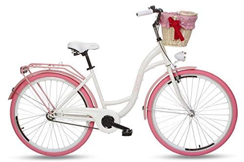 Goetze Colours 28 Zoll Damen Citybike Stadtrad Damenfahrrad Damenrad Hollandrad Retro-Design Korb Hinterradbremse LED-Beleuchtung Weiß-Rosa