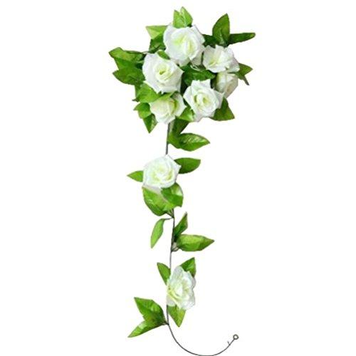 Flores Artificiales,Xinan 1 Piezas Artificial Rosa Flor Rattan Hoja Verde (Blanco)
