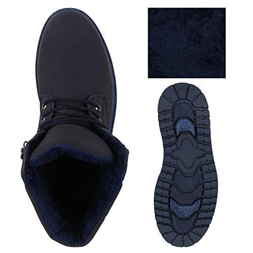 Stiefelparadies Herren Worker Boots Outdoor Schuhe Warm Gefüttert Profil Sohle Flandell Dunkelblau Blau