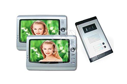 Videocitofono a colori con doppio monitor LCD da 7' con funzione fotorecorder memoria integrata dvr