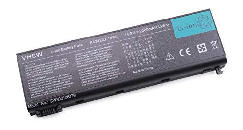 vhbw Batterie 2200mAh (14.4V) notebook Toshiba Equium L100-186 L20-197 L20-198 L20-264 Tecra L2, L10, L20, L100 remplace PA3420U-1BAC, PA3420U-1BAS