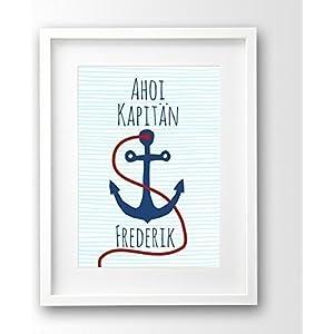 Geburtsanzeige Kinderposter ungerahmt, Kapitän, Anker Name personalisiert