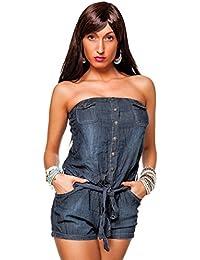 24brands Damen Bandeau Jeans Overall Shorts kurze Hose Hot Pants Jumpsuit - 2056