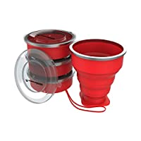 Wakeman Outdoors 75-CMP1044 Collapsible Travel BPA Free, FDA Approved Reusable 6 Oz Drink Cups for Camping, Fishing, Picnics, More (4 Pack), Red