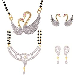 Zeneme Women's Pride American Diamond Gold Plated Mangalsutra Combo Pendant with Chain for Women Set of 2