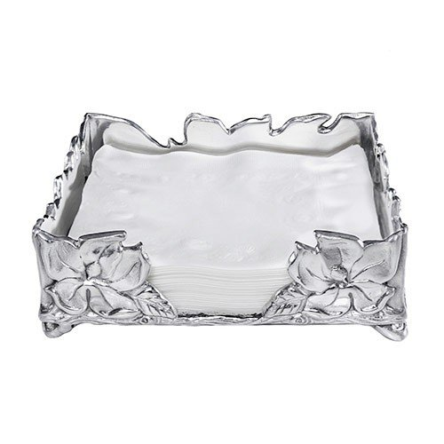 Arthur Court Magnolia Luncheon Napkin Box, 7 by 7-Inches by Arthur Court Designs