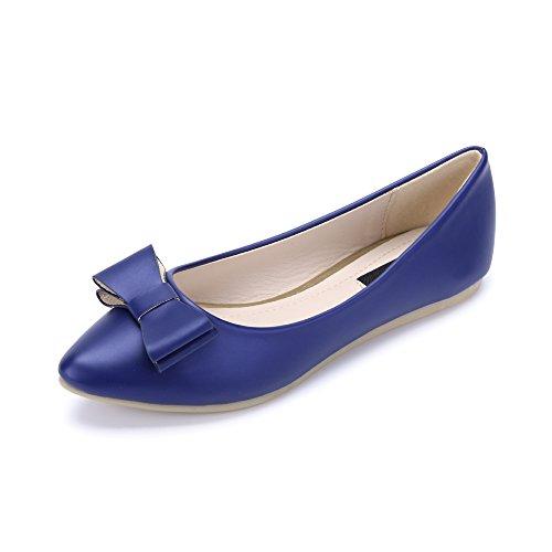 Damen Ballerinas Spitze Einfach oder mit Schleife zur Dekoration Blau B-2