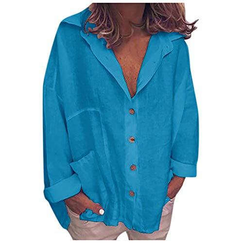 Langarm t Shirt Damen,Herbst Mode Casual Frauen Langarmshirt Bluse Oberteile Knopf Taschen Baumwollspitzen Locker Große Größen Tops 2019(Blau,XXXXL)