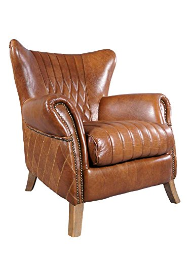 Ohrensessel Enfield Vintage Leder Whiskey Brown Messingnieten