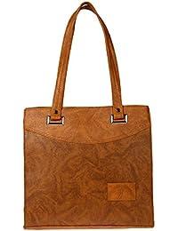 Zapatoz Women's Plain Tan Leatherite Tote Bag (Tote-L-Tan)