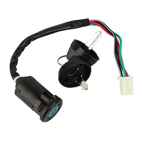 Interruptor de encendido de 4 pines para motor de motocicleta, interruptor de encendido universal macho, interruptor de encendido impermeable, 4 cables