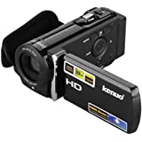 KENUO 3.0'' Sharp TFT LCD 1080P 16MP Digital Video Camcorder Full HD 16x digital Zoom Sport DV Digital Camera Kit Supports HDMI Video Output ,270 Degrees Rotation ,White Balance Auto UK (Black)