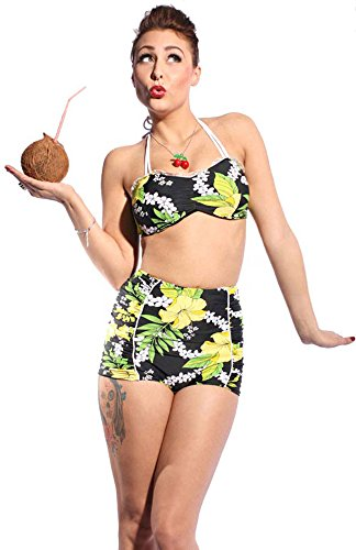 Hawaii Flower rockabilly retro pin up Hibiskus Blüten Ruffle Panty Bikini