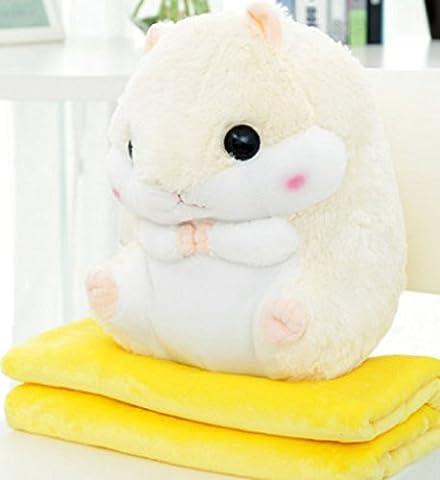 Missley Hamster Kissen 2 in 1 niedlich Kurzes plüschliches Hamsterkissen mit Decke Super Lustiges Geschenk für Freundin (Hamster+blanket-1*1.7m, (Gute Freundin Geschenke)