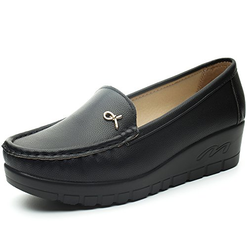 Mocasines Plataforma Cuña Negros para Mujer – Cestfini Los Cómodos Casual Zapatillas para Mujer, Zapatos del Barco, Cómodo y Antideslizante F012-BLACK-37