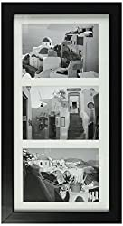 Golden State Art, 7x14 Black Photo Wood Collage Frame with Mat displays (3) 4