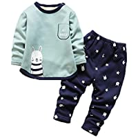 ARAUS Baby Clothing Set Fleece Sweatshirt Top Pants Trousers Outfits Thermal Pajamas Set 0-4 Years