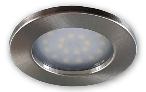 Flacher LED Einbaustrahler 230 V alu gebürstet 9252-2 W warmweiss Möbelleuchte Lampen LED Spot