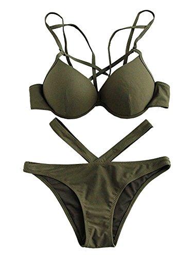 ROMWE Damen Push Up Bikini mit Bügel V-Kreuz Bademode Beachwear Armee Grün M
