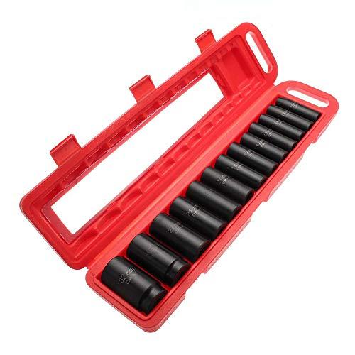 Deep Drill Kit (EDFDJED 13 Stücke 10-32mm 1/2 Zoll Deep Impact Sockel Set Metric Imperial Drive Air Schraubenschlüssel Tool Kits Steckdosen Schwarz)