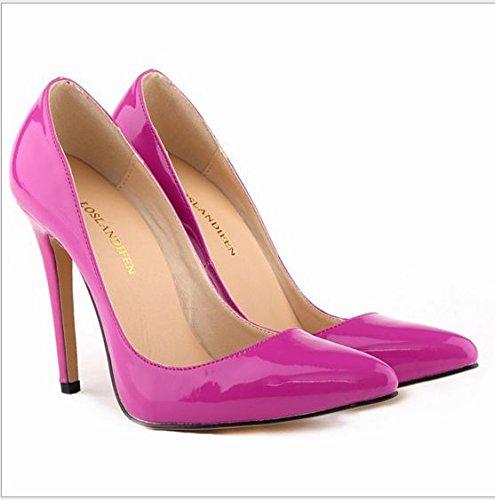 XINJING-S Bowknot High Heels Schuhe Party Hochzeit Frauen Pumps Heels OL Kleidung Schuhe Sandalen Pflaume