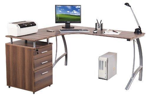 hjh OFFICE Computer-Eck-Schreibtisch CASTOR walnuss silber mit Standcontainer, 151/143 x 76 x 55 cm, Drucker-Podest, robust gefertigt, einfacher Aufbau, PC-Workstation 673410