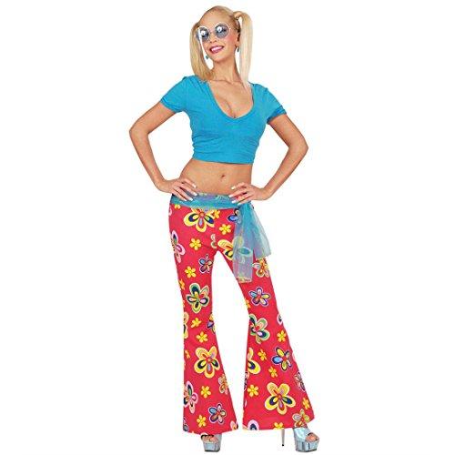 NET TOYS Hippie Schlaghose 70er Jahre Hose M 38/40 rot Blumen Schlag Hosen Blumenmuster Damenhose Flower Power Damenschlaghose Schlagermove Kostüm Accessoire (Hose Kostüm Rote)