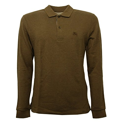 Burberry Herren T-shirts (BURBERRY C0832 Maglia Uomo Marrone/Verde Melange Polo t-Shirt Polo Men [S])