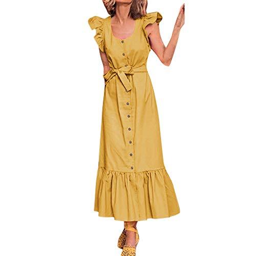 LILIHOT Womens Holiday Sexy Rüschenärmel Bow Dress Damen Beach Party Kleid Damen Blumen Kleid Elegant Maxikleid Floral Print Böhmischen Strand Maxi Kleid Casual - Bow-front Floral Dress