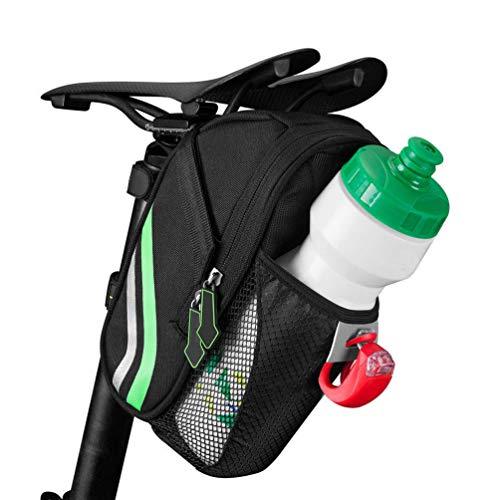 WANDERVOGEL Satteltaschen Sitztaschen Fahrradtasche Mit Flaschenhalter Reflektierend Schwarz Grün