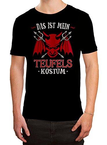Kostüm Teufel Moderne - Kostüm Teufel Premium T-Shirt | Verkleidung | Karneval | Fasching | Herren | Shirt, Farbe:Schwarz (Deep Black L190);Größe:XL