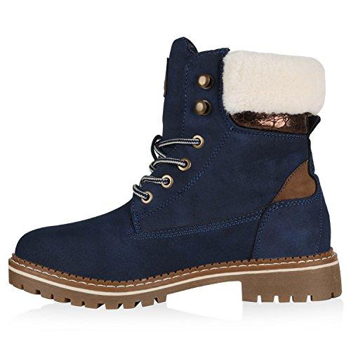 Stiefelparadies Damen Stiefeletten Warm Gefütterte Worker Boots Outdoor Schuhe Flandell Dunkelblau Brooklyn