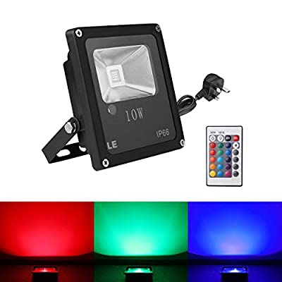 LE® Remote Control 10W RGB LED Flood Lights, Colour Changing LED Security Light, 16 Colours & 4 Modes, Waterproof LED Floodlight, UK 3-Plug, Wall Washer Light