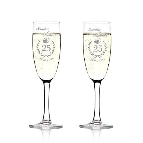 2er Set Sektgläser mit Gravur Namen und Datum schöne Geschenk-Idee für Champagner-, Prosecco- und Sekttrinker Motiv Jubiläumskranz