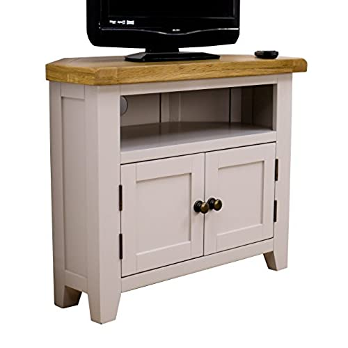 Amazing Arklow Painted Oak Dovetail Grey Corner TV Stand / Oak Corner TV Cabinet /  Living Room Storage