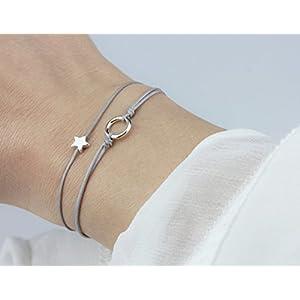 SCHOSCHON Damen Textil Armband Set Stern/Kreis Grau-Silber - 925 Silber // Geschenk Weihnachten personalisierbar 20 Bandfarben