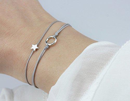 SCHOSCHON Damen Textil Armband Set Stern/Kreis Grau-Silber - 925 Silber // Geschenk personalisierbar 20 Bandfarben Geschenk