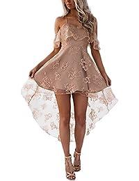 071e69219f96 HX fashion Abito da Sera Donna Eleganti da Cerimonia Pizzo Filato Netto  Estivi Moda Unique off
