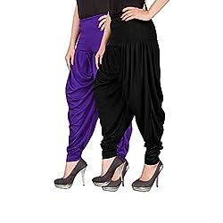 Navyataa Womens Lycra Dhoti Pants For Women Patiyala Dhoti Lycra Salwar Free Size (Pack Of 2) Voilet & Black
