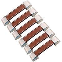 FBSHOP(TM) 6 tiradores para armario, cajón, puerta de armario, manijas de armario, tiradores de metal y piel, Hole distance:96mm