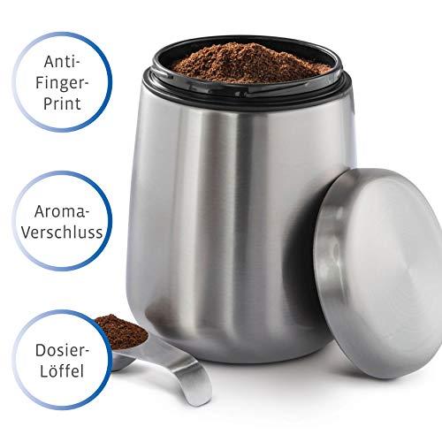 Xavax Kaffeedose Edelstahl 500g, Kaffeebehälter mit Aromaverschluss, inkl. Dosierlöffel im Deckel,...