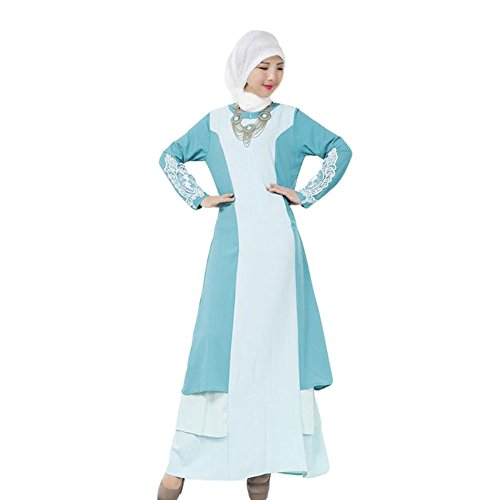 Meijunter Musulman Femme Maxi Dress Kaftan Islamic Abaya Malaysia Manche longue Robe blue