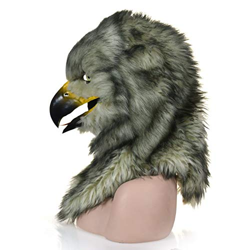 LOYAL TECHNOLOGY-MASKS Masken für Erwachsene Tiermaske Pelz Handgefertigte Karneval Bewegung Mund Maske Hawk Simulation Tier Kopfmaske Tierkopfmaske (Color : Grey, Size : 25 * 25)